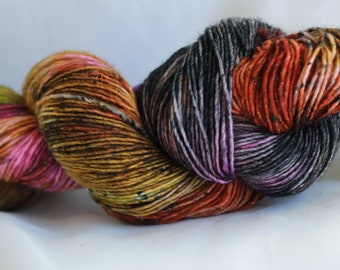 MIAS MIX - ( Speckled Stellina)hand dyed super wash merino single sock (100 grams) 400 yds #3
