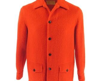 Vintage 50s Hudsons Bay Point Blanket Coat Mens Medium England Made Red Wool [H91G_2-2]