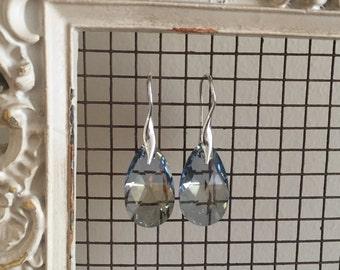 Aquamarine Swarovski Crystal on Silver Earring
