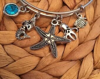 Starfish,Mermaid,Octopus,Fish Bangle,Sea life Bracelts,Adjustable