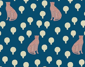 Sarah Golden for Andover FABRIC - Around Town - Cheetahs in Cerulean