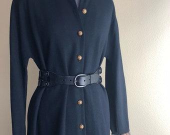 Vintage/Retro Black Swing Coat Dress/1980s Dress