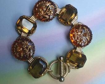Vintage 50s Topaz Glass Foliate Designs Bracelet