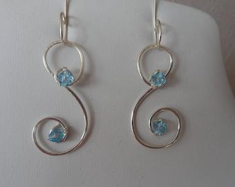 Handmade Silver Wire with Blue Swarovski Crystals