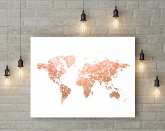 Rose gold world map print Pink and gold map art Travel decor Gold home decor Gold map printable Glitter map Digital 30x40 24x36 16x20 11x14