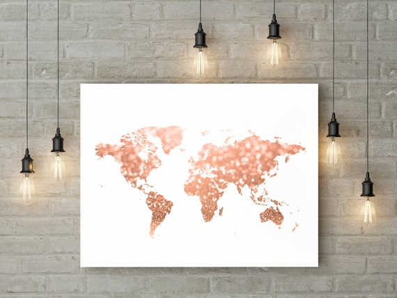 Rose gold world map print pink and gold map art travel decor rose gold world map print pink and gold map art travel decor gold home decor gold map printable glitter map digital 30x40 24x36 16x20 11x14 sciox Gallery