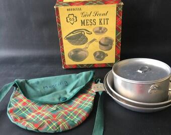 Girl Scout Mess Kit ,Complete, plaid, pot pan, bag