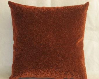 "Orange - Brown - Dark brown -  Velvet - Decorative - Luxury - Handmade - Throw pillow  - Cushion - Cover - 40 cm x 40 cm (16"" x 16"")"