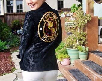 SAVE the PLANET, Designer Jacket, Georgiou Studio Jacket, Jacquard Up cycle, Rocker Coat, size S