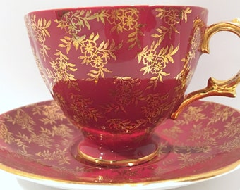 Royal Stuart Tea Cup and Saucer, Red and Gold Cups, English Teacups, Vintage Tea Party, Antique Teacups, Bone China Cups, Antique Tea Cups