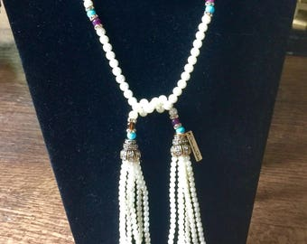 Vintage Oscar de la Renta Pearl Lariat Necklace with Tassels FREE SHIP