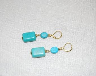 Turquoise Dangling Earrings - Bridesmaids Earrings - Wedding Jewelry - Turquoise Earrings