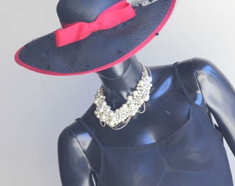 Vintage Lonette Originals Blak Straw Hat with Red trim and birdcage veil netting  US  One size