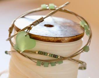Guitar String Bangle Set, Guitar Jewelry, Guitar Bangle, Handmade Recycled Bracelet, Beaded Guitar String Bangle, Green Bangle, Boho Jewelry
