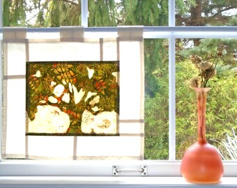 Dutch Elm on Edgerton Lane ~ Bleached Art Batik ~ Stained Glass Look Fabric Pojagi Window Treatment / dorm / cafe / boudoir curtain