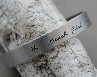Beach Girl, Hand stamped aluminum bracelet, 3/8 Inch Bangle Silver tone Cuff Bracelet, Lightweight, Starfish, summer jewelry