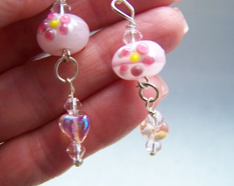 Pink White Floral Lampwork Glass Dangle Earrings Doodaba