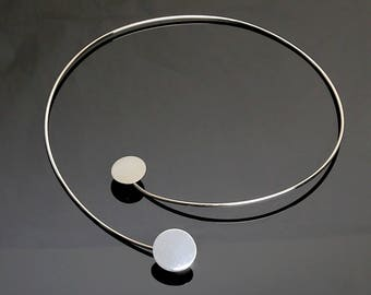 Vintage Betty Cooke Sterling SIlver Double Disc Necklace