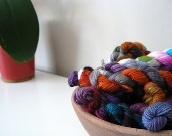 Hand Dyed Mini Skeins Fingering Weight Superwash Sock Yarn- Mystery 5 pack