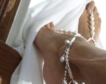 Wedding Barefoot Sandal, Bridal Anklet, Bridal Sandal, White Pearl Barefoot Sandals, India Style Barefoot Sandal, 1 Pair