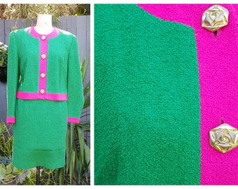 """Green Pink Colour Block Boucle Vintage Skirt Power Suit with Jacket by """"Anthony Leigh Dower"""""""