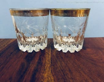 Vintage Gold Rimmed Whiskey Tumblers Antique Glass Tumblers