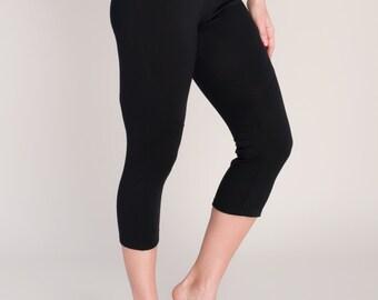 SALE! WAS 130.00 Womens Crop Pants / Leggings in Natural Breathable Merino Wool - Black - by Vielet