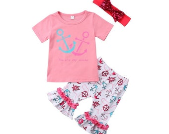 3Pc Summer Anchor Ruffle Capris outfit