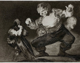 Francisco Goya: Simpleton - plate 4 from the series 'Los Disparates' (The Follies). Fine Art Print/Poster (004512)