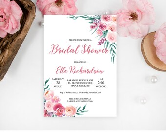 purple and blush pink bridal shower invitation template