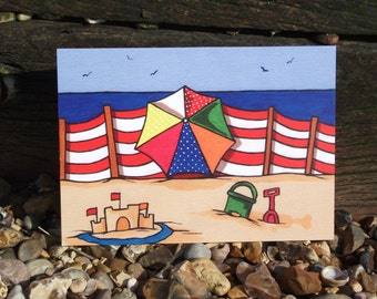 Parasol & Wind Break Greeting Card