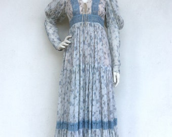Ethereal bohemian 1970's Gunne Sax blue floral sleeved maxi dress