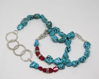 Sterling silver turquoise long necklace with red coral. Gemstone necklace. Red coral necklace. Blue turquoise necklace. Gift for her.
