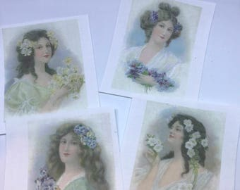 Set of Four Fusible, Vintage Images for crazy quilting, wall-hanging, iron-ons