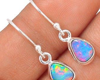"""Stunning! Australian Boulder Dangle Earrings. Natural Doublets. Australian Opal Earrings. 1"""" long. 9849"""