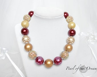 Christmas maroon burgundy dark red gold chunky statement necklace baby toddler girl women adult flower girl bridesmaid wedding birthday gift