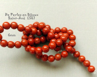 1 lot of 10 Red Jasper beads round 6mm natural stone - REF. OO.to