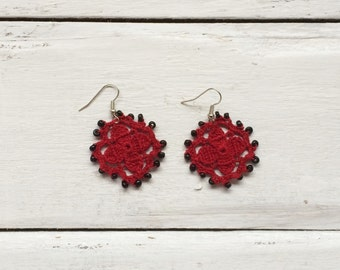 Red Flower Earrings, Oya Beaded Earrings, Crochet Earrings, Oya Dangle Earrings, Crochet Jewelry, Women's Gift, Valentines Day Gift, Craft