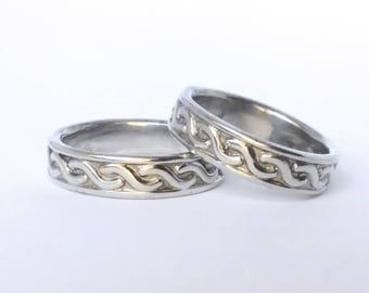 Set of 2 - Vintage Sterling Silver Tribal Ring Bands