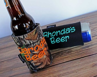 Personalized Can Coolers -Custom Camo Can Cuddler ® Gift for Him - Custom Beer Gift