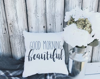 Good Morning Beautiful | Throw Pillow | Calligraphy | Handmade | Home Decor | Bedding
