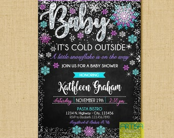 Baby it's cold outside invitation, baby it's cold outside baby shower invitation, girl baby it's cold outside invitation, winter baby shower