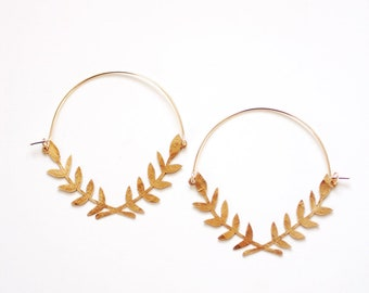 Lauren Wreath Hoop Earrings | Laurel Branch Earrings | Leaf Earrings | Statement Earrings | Statement Jewelry | Brass Gold Earrings