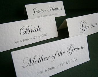 25 Personalised Wedding Place Name Cards