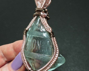 Double color Historic genuine SEAGLASS hand made wire wrapped pendant / A18