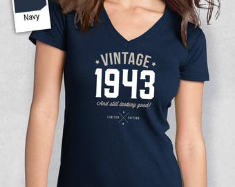 75th Birthday, Women's V-Neck, 75th Birthday Idea, 75th Birthday Present, or Birthday Gift. 1943 Birthday, For The Lucky 75 Year Old!