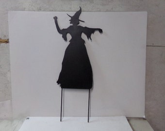 Halloween Witch Metal Yard Art Silhouette with Stakes