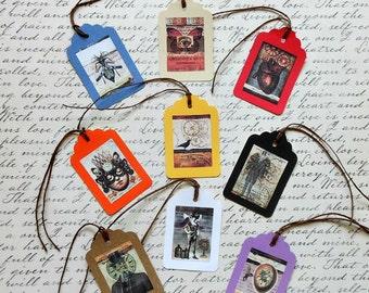 Set of 9 Steampunk Gift TAGS & Labels- Vintage look human heart steampunk gentlemen steampunk butterfly bee crow steampunk gift vintage tags