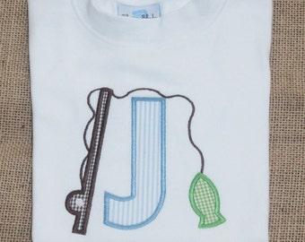 Fun Boys Fishing Applique, Monogram Fishing Shirt or Bodysuit, Fishing Applique Shirt, Daddy's Fishing Buddy Applique Shirt