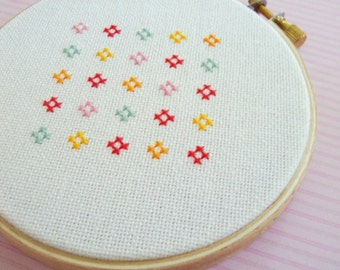 Cute and Colorful Flowers Cross Stitch Pattern. Modern Simple Cute Counted Cross Stitch PDF Pattern. Instant Download